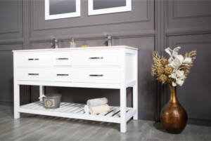 Modern white bathroom vanities comes in an optional marble countertop with a double white undermount porcelain sink