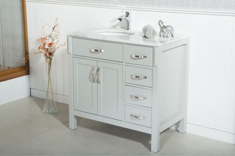 FAWNA modern/tradional white bathroom vanities come with an optional marble countertop and white undermount porcelain sink