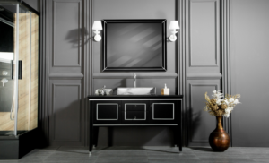 MANHATTAN contemporary classic Black bathroom vanities with an optional marble countertop and silver counselor porcelain sink
