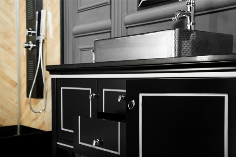 MANHATTAN Contemporary Classic Black bathroom vanities detail
