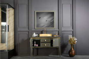 MANHATTAN contemporary classic Black bathroom vanites come with an optional marble countertop and silver counselor porcelain sink