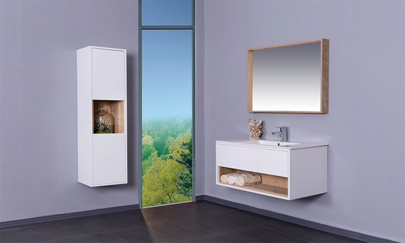 NARA modern bathroom vanity with white integrated porcelain sink