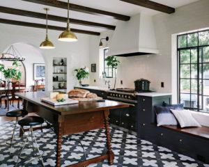 Porcelain Tile Black and White Kitchen Flooring