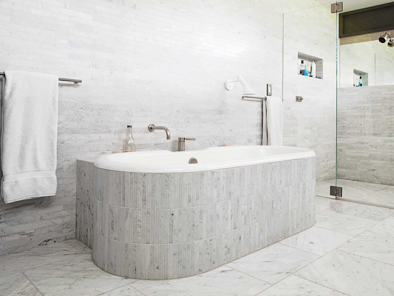 Carrara Marble Tile Bathroom Contemporary Design - Brunswick Design