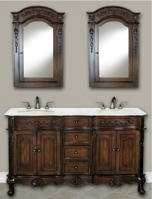 DWI Dragon Vanities in Teak Finish