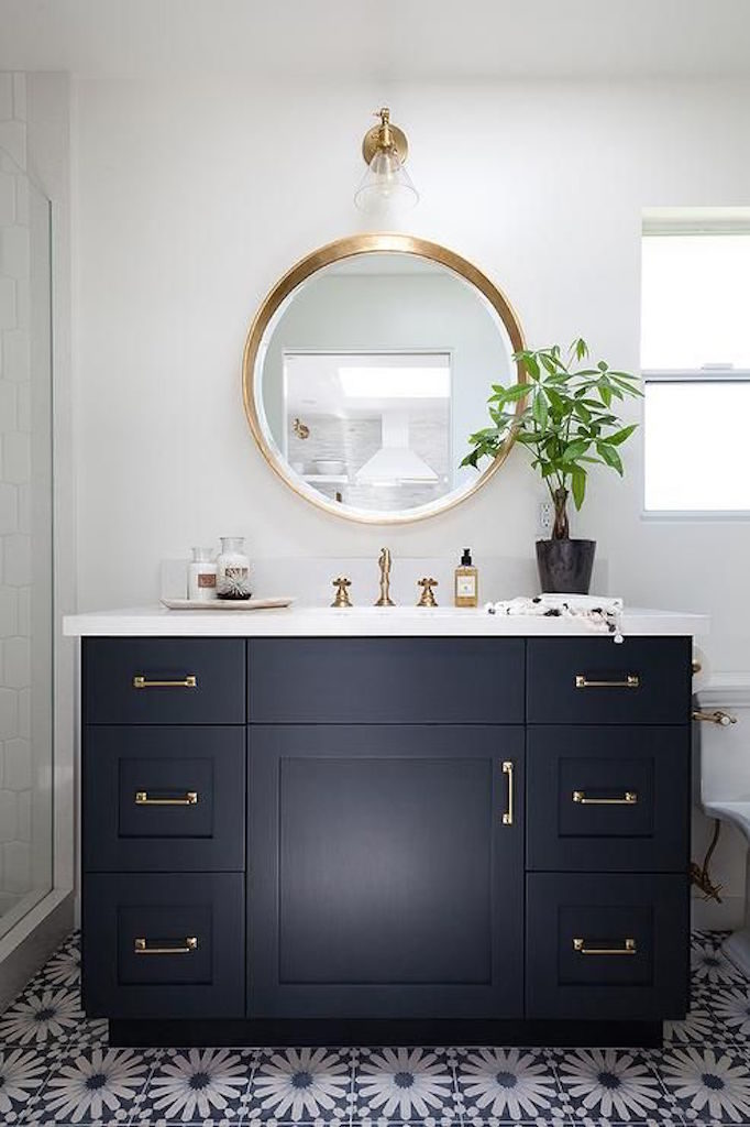 Dark Single Sink Bathroom Vanities Design Idea