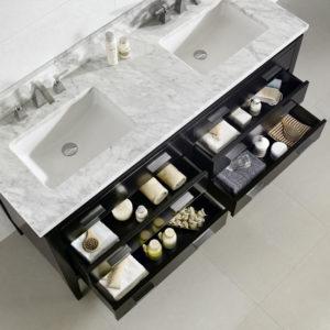 Dowell Bathroom Vanity Cabinets Black countertop, sink, and storage