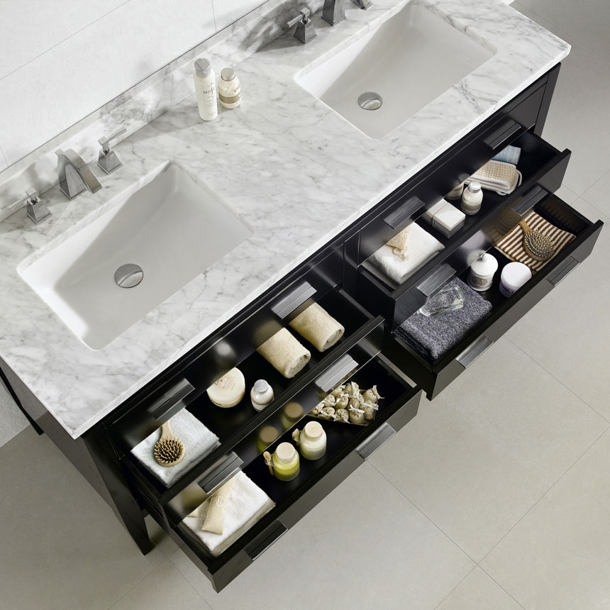 Dowell Bathroom Vanity Cabinets Black countertop, sink, and storage