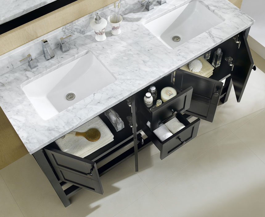 Dowell Bathroom Vanities in Espresso Sinks and Storage