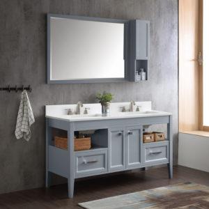Dowell Double Bathroom Vanities in gray blue