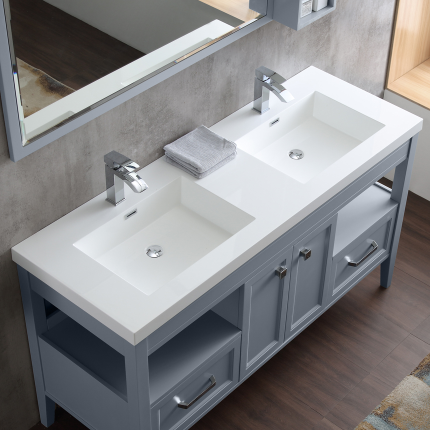 Dowell Double Bathroom Vanities in gray blue sinks