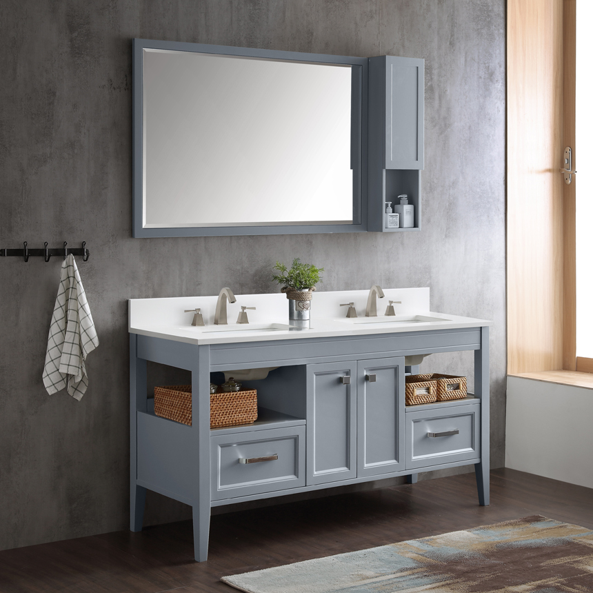 Dowell Double Bathroom Vanities in gray blue