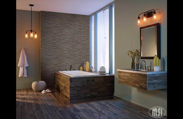 Wood look tile bathroom