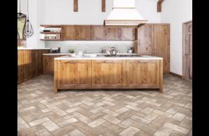 Porcelain Tile Natural Stone Brick Look Contemporary Kitchen Design