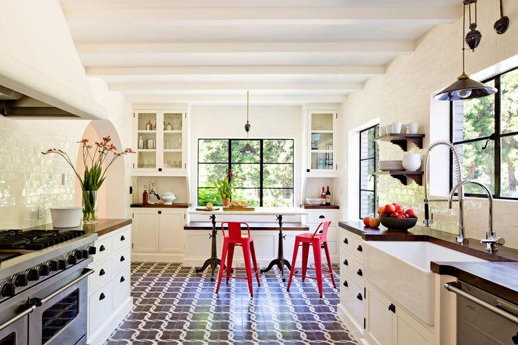 Porcelain Flooring in Mediterranean Kitchen Design