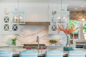 White Marble Slab Backsplash Kitchen Design