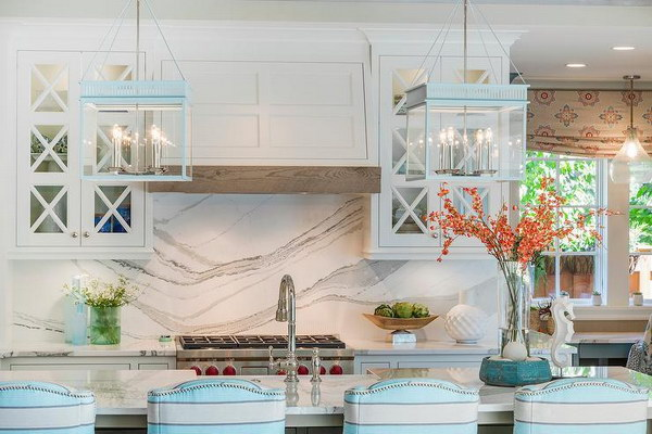 White Marble Slab Backsplash Kitchen Design