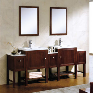 Dowell double sink bathroom vanities in Wenge Color