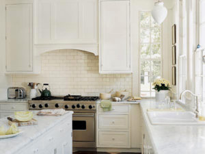 Ceramic White Subway Tile Kitchen Design
