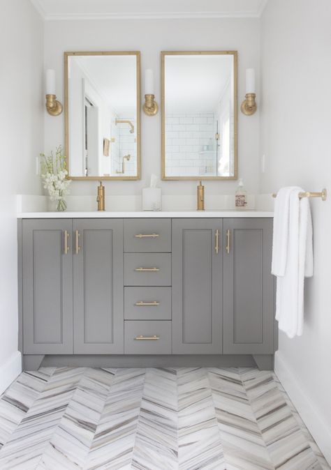 Grey Shaker Style Cabinets Bathroom with Brass